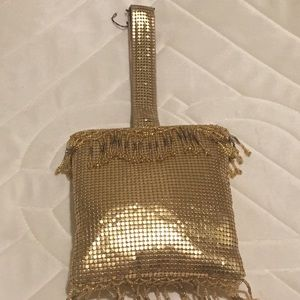 Vintage Whiting and Davis mesh gold handbag